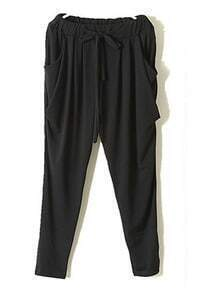 Black Vintage High Drawstring Waist Loose Pant