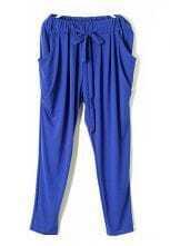 Blue Vintage High Drawstring Waist Loose Pant