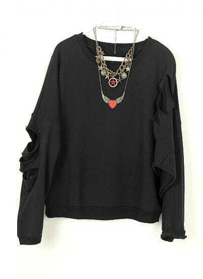 Black Vintage Ripped Batwing Loose Cotton Sweatshirt