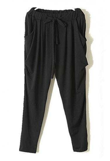 Black Vintage High Drawstring Waist Loose Pant