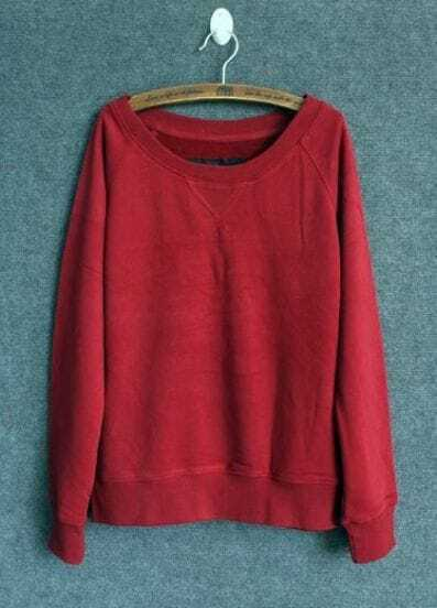 Red Round Neck Long Sleeve Loose Sweatshirt