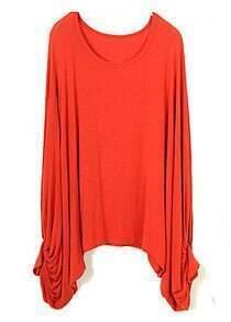 Orange Vintage Batwing Loose Cotton Blends T-Shirt