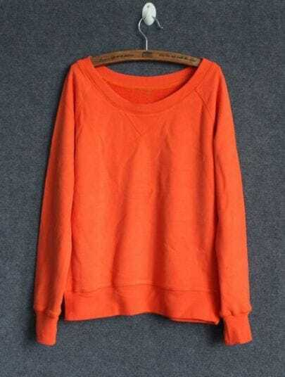Orange Round Neck Long Sleeve Loose Sweatshirt