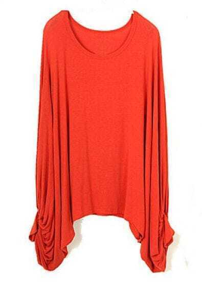 Orange Vintage Batwing Loose Cotton Blends T-Shirt