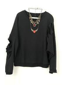 Black Vintage Ripped Batwing Loose Cotton Sweatshirt