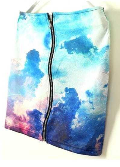 Blue Sunset Galaxy Print Zipper Back A-line Skirt