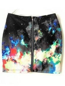 Multi Fireworks Galaxy Print Zipper Back A-line Skirt