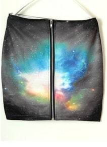 Black Sunset Galaxy Print Zipper Back A-line Skirt