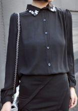 Black Single Breasted Pearls Chiffon Shirt