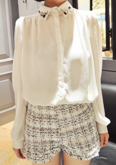 White Single Breasted Pearls Chiffon Shirt