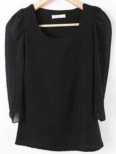 Black Round Neck Puff Sleeve Chiffon Shirt