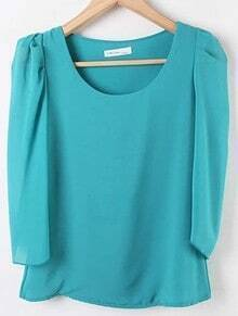 Green Round Neck Puff Sleeve Chiffon Shirt