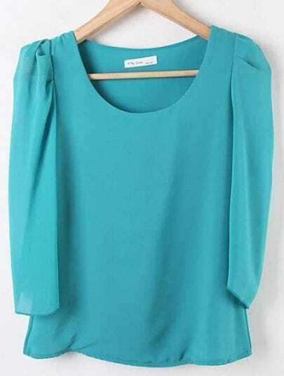 Green Round Neck Puff Sleeve Chiffon Shirt