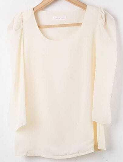 Apricot Round Neck Puff Sleeve Chiffon Shirt