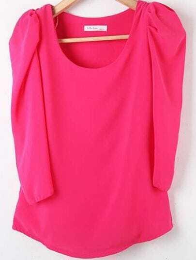 Rose Red Round Neck Puff Sleeve Chiffon Shirt