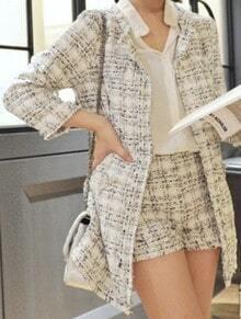 White Three Quarter Length Sleeve Frayed Trims Tweed Coat with Shorts