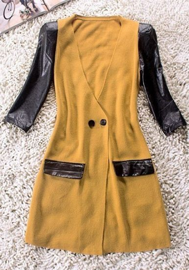 Yellow V Neck Contrast PU Leather Half Sleeve Wool Coat