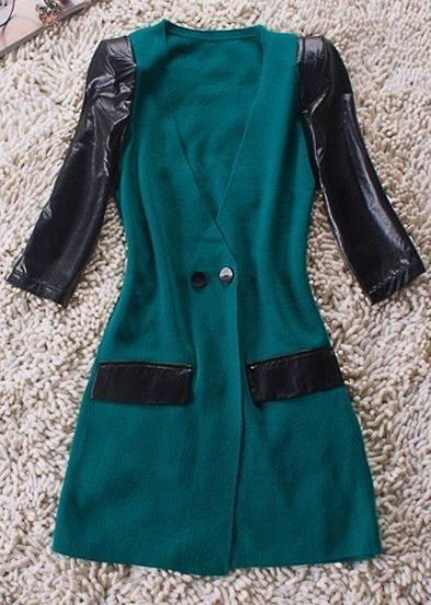 Green V Neck Contrast PU Leather Half Sleeve Wool Coat