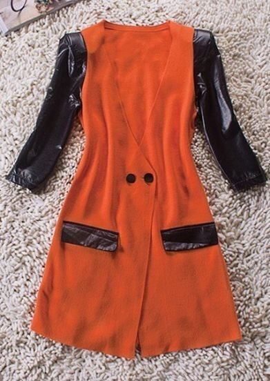 Orange V Neck Contrast PU Leather Half Sleeve Wool Coat