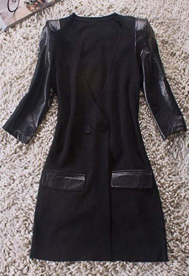 Black V Neck Contrast PU Leather Half Sleeve Wool Coat