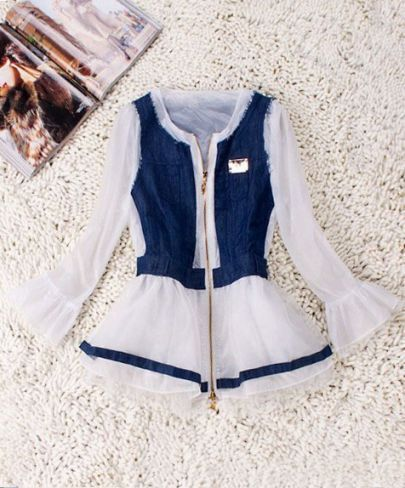 White Long Sleeve Contrast Denim Panel Peplum Coat