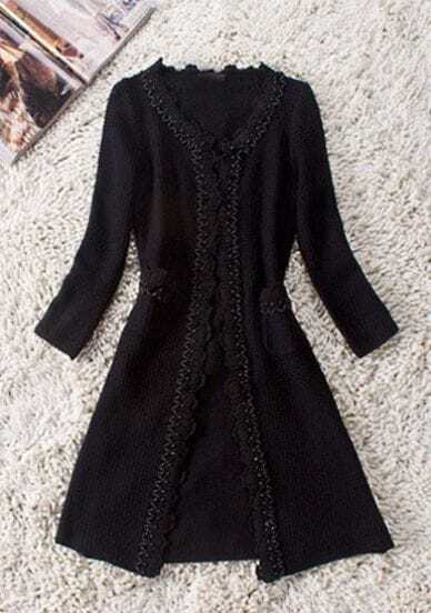 Black Long Sleeve Pearls and Flowers Trims Slim Trench Coat