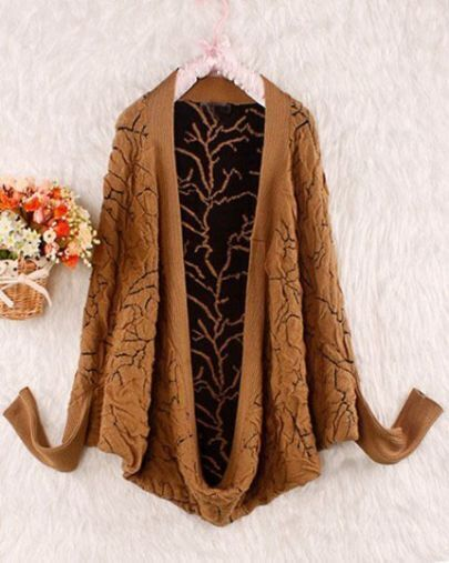 Camel Long Sleeve Pleated Wool Shrug Sweater