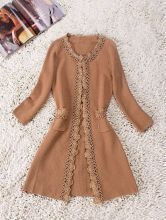 Khaki Long Sleeve Pearls and Flowers Trims Slim Trench Coat