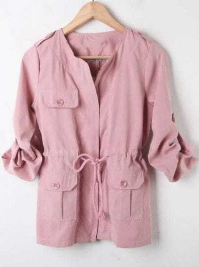 Pink Rolled Long Sleeve Drawstring Waist Coat
