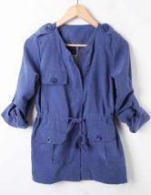 Blue Rolled Long Sleeve Drawstring Waist Coat