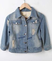 Blue Ripped Bleached Letters Print Denim Crop Jacket