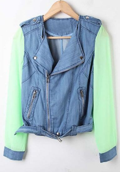 Blue Denim Contrast Chiffon Green Long Sleeve Jacket