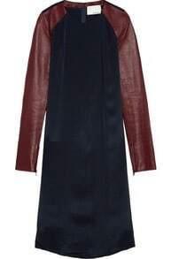 Navy Contrast PU Leather Long Sleeve Shift Split Side Dress
