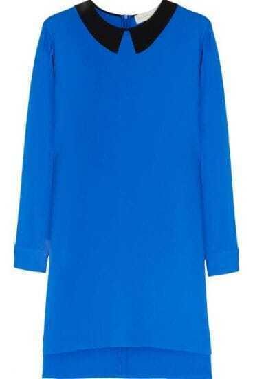 Blue Contrast Collar Long Sleeve Belted Shift Split Side Dress