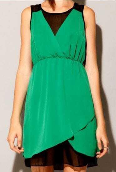 Green Asymmetrical Drawstring High Waist Lace Dress