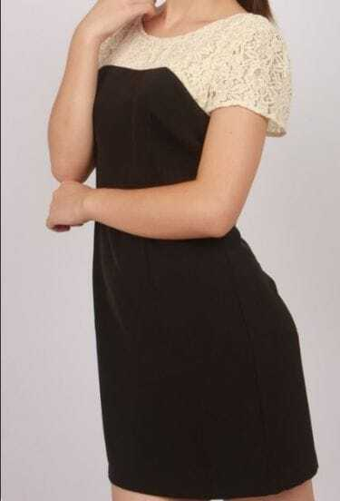 Black Round Neck Short Sleeve Lace Polyester Dress