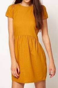 Yellow Vintage Round Neck Short Sleeve Polyester Dress