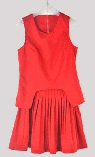 Red Sleeveless Zip Back Cut Out Top with Skirt
