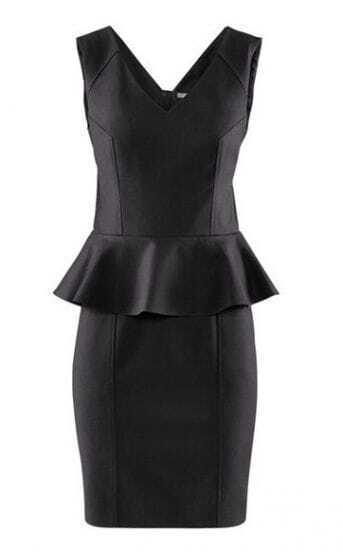 Black V Neck Sleeveless Peplum Bodycon Dress
