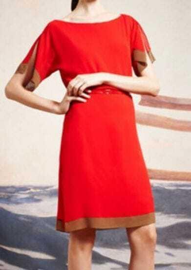Red Split Short Sleeve Boat Neck Short Dress