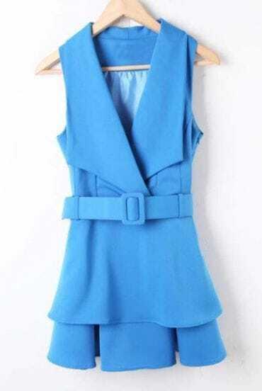 Blue V-neck Sleeveless Tiered Ruffles Belted Dress
