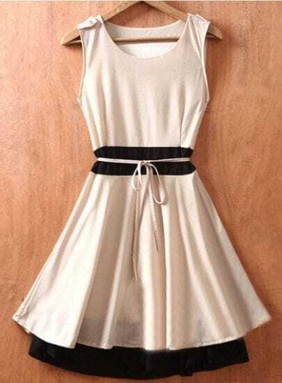 Beige Sleeveless Tie Waist Double Layer Hem Chiffon Dress