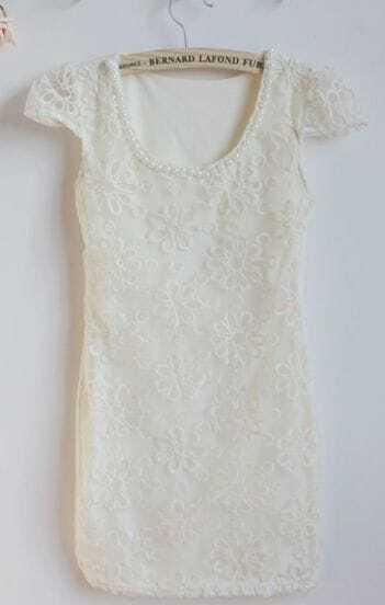 Apricot Cap Sleev Lace Embroidery Sheath Mini Dress