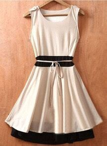 Beige Sleeveless Tie Waist Double Layer Hem Chiffon Dress