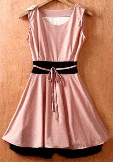 Pink Sleeveless Tie Waist Double Layer Hem Chiffon Dress
