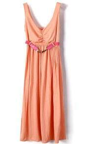 Pink Spaghetti Strap Sleeveless Modal Belt Pleated Dress