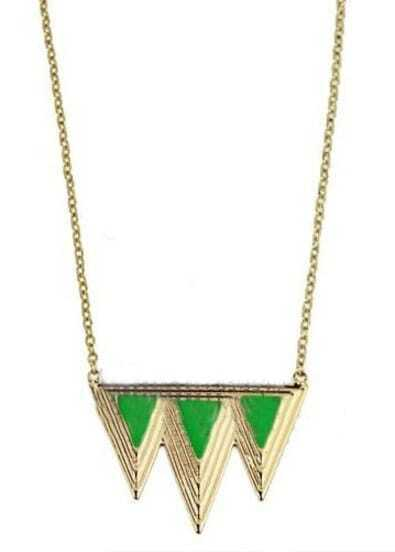 Light Green Triangle Splice Gold Necklace