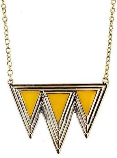 Yellow Triangle Splice Gold Necklace