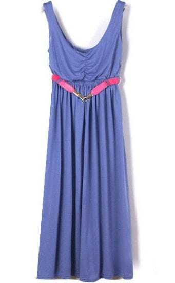 Blue Spaghetti Strap Sleeveless Modal Belt Pleated Dress