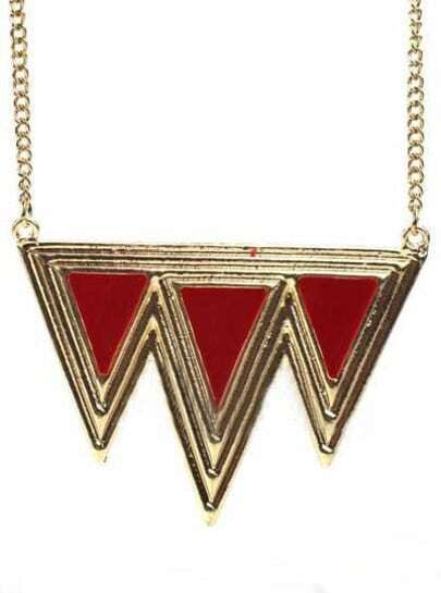 Orange Triangle Splice Gold Necklace